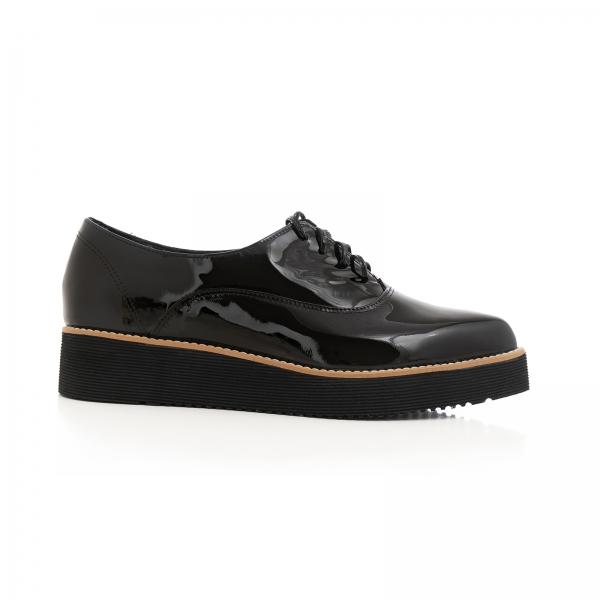 Pantofi oxford cu varf ascutit, din piele lacuita neagra 0