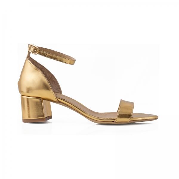 Sandale din piele laminata aurie, cu toc gros 0