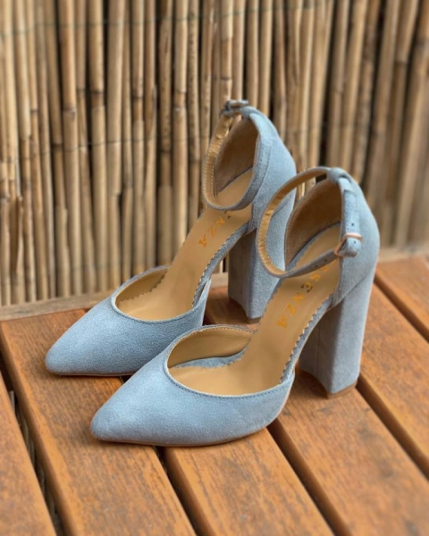Pantofi din piele intoarsa de culoare albastru deschis 0
