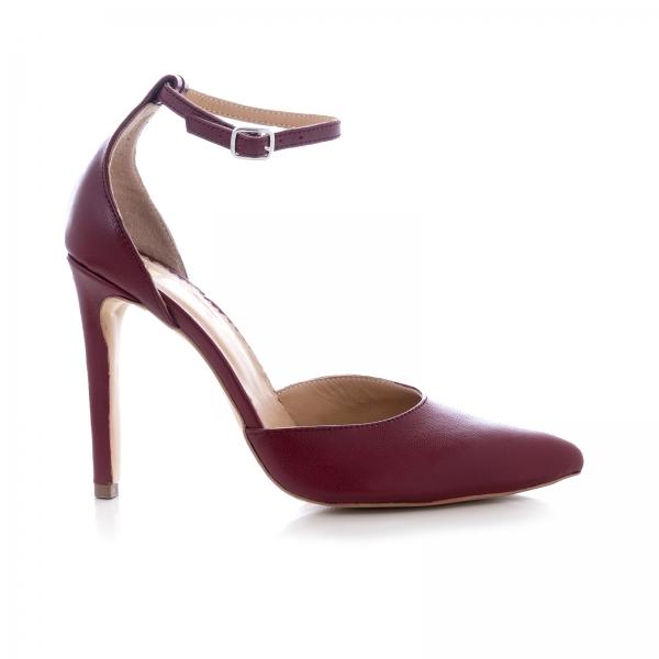 Pantofi din piele naturala de culoare visiniu 0