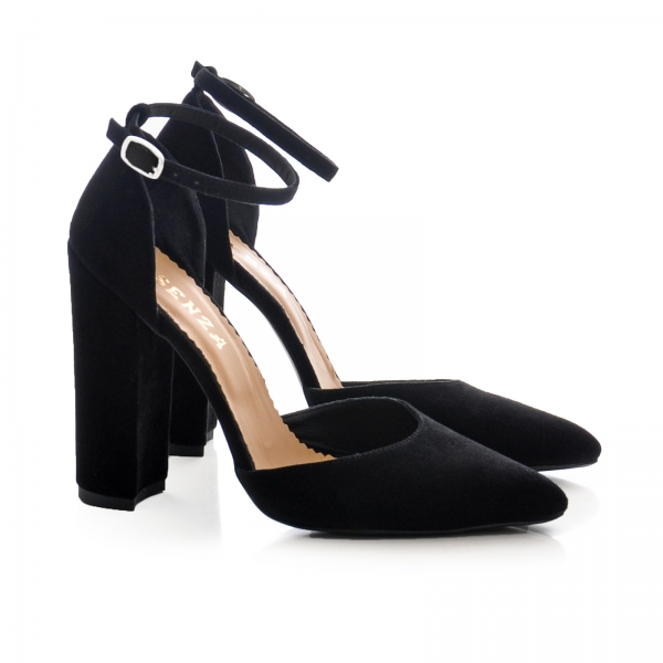 Pantofi cu decupaj interior si exterior. din piele intoarsa neagra 1