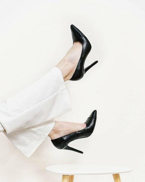 Pantofi Stiletto din piele lacuita neagra si piele lacuita cu textura de piele de sarpe 0