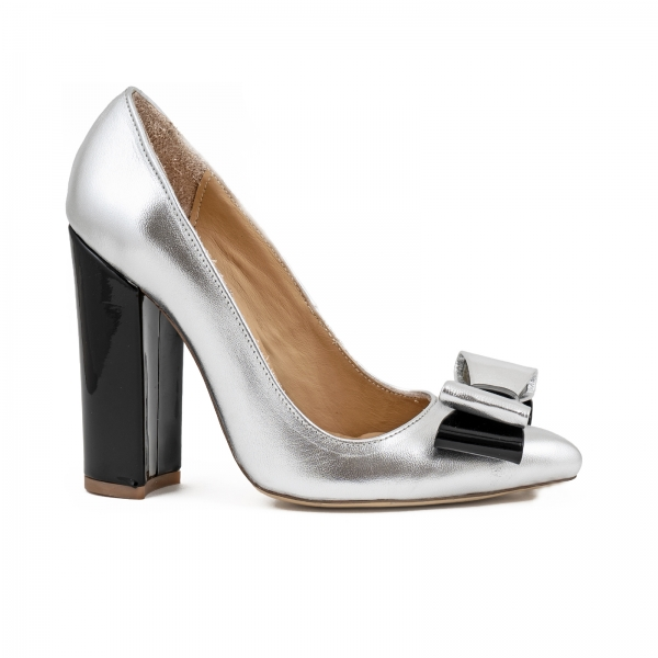 Pantofi Stiletto cu funda, din piele lacuita neagra si argintie 0