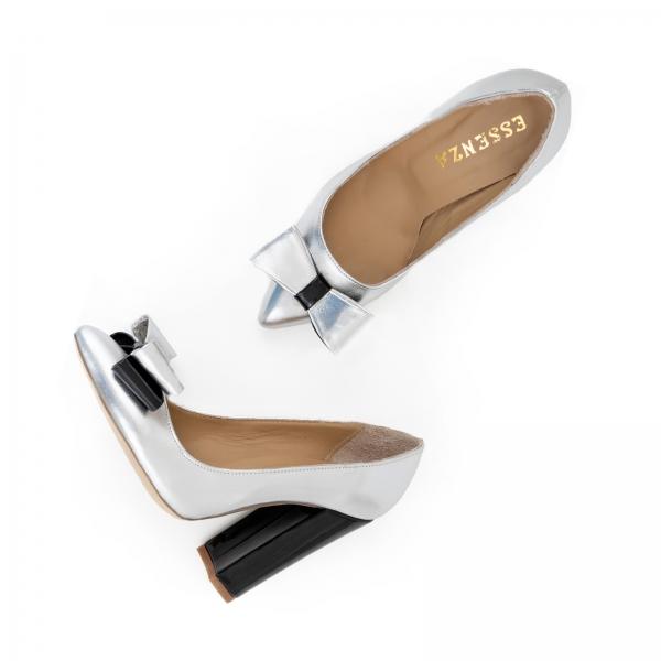 Pantofi Stiletto cu funda, din piele lacuita neagra si argintie 2