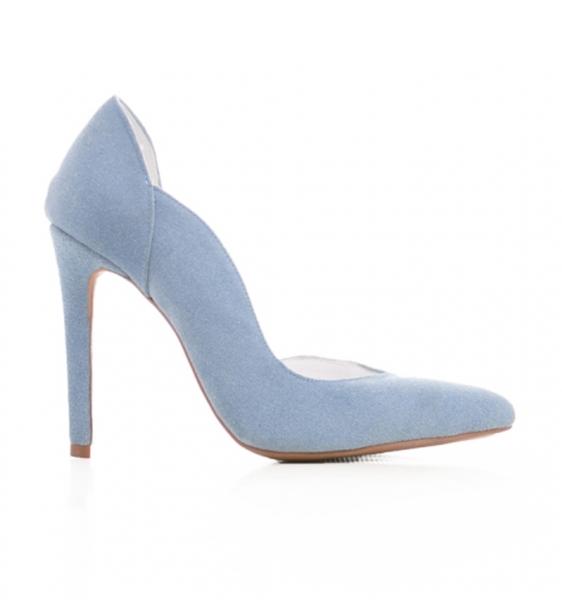 Pantofi stiletto cu decupaj interior, din piele intoarsa albastra 0