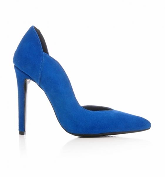 Pantofi stiletto, cu decupaj interior, din piele albatru intens 0