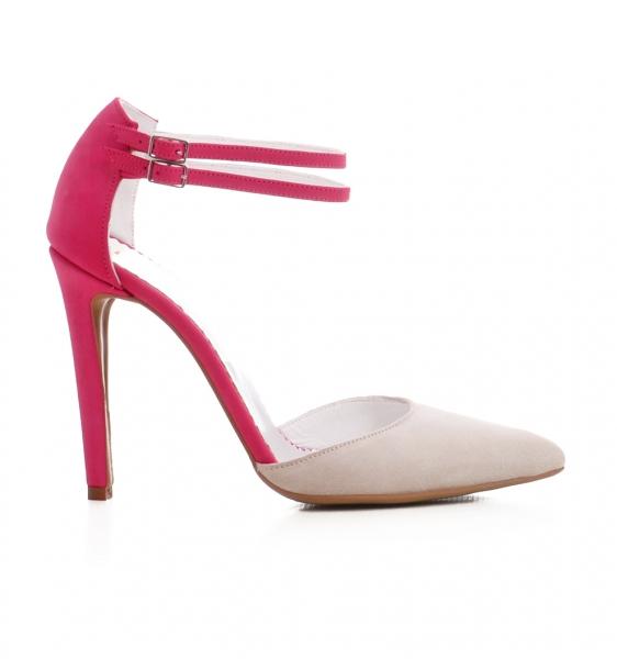 Pantofi stiletto din piele roz si crem 0
