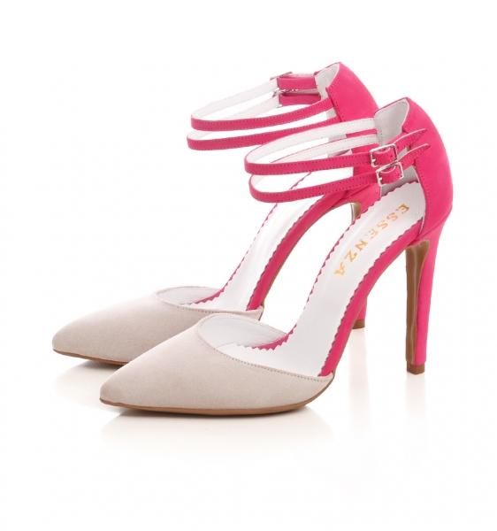 Pantofi stiletto din piele roz si crem 1