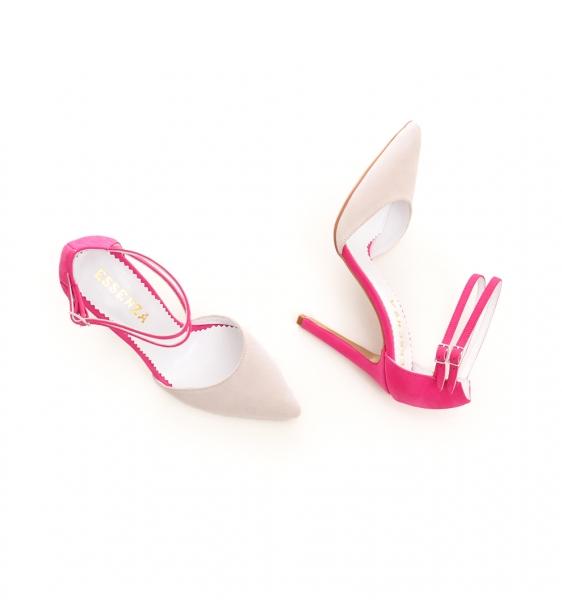 Pantofi stiletto din piele roz si crem 2