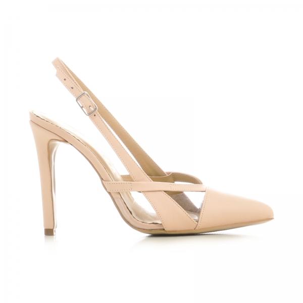 Pantofi stiletto din piele bej si plastic transparent 0