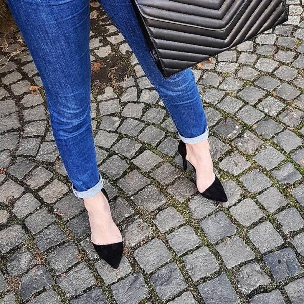 Pantofi Stiletto, din piele intoarsa neagra 1