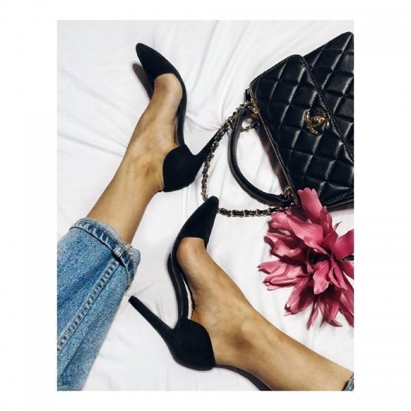 Pantofi Stiletto, din piele intoarsa neagra 0