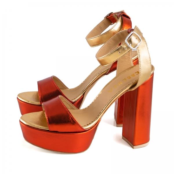 Sandale din piele laminata portocaliu intens si auriu, cu toc gros patrat si platforma 1