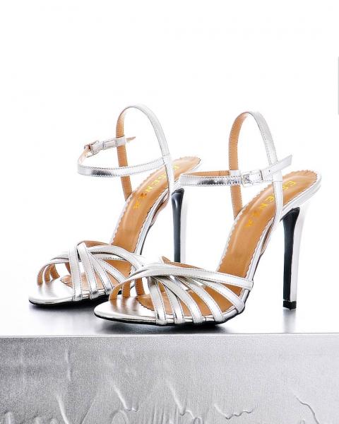 Sandale stiletto cu barete subtiri din piele argintie 0