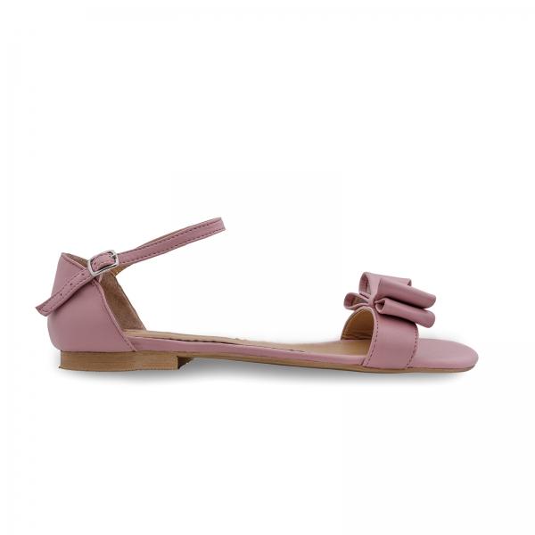 Sandale cu talpa joasa, din piele nappa roz, cu fundite 0