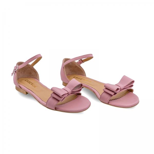 Sandale cu talpa joasa, din piele nappa roz, cu fundite 1