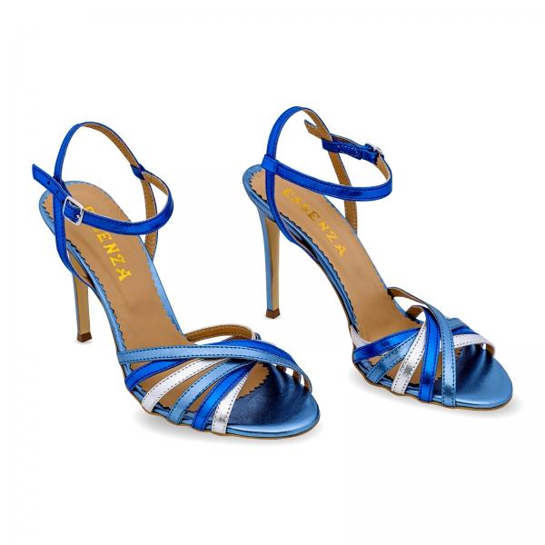 Sandale cu barete, din piele naturala metalizata argintie si albastra 1