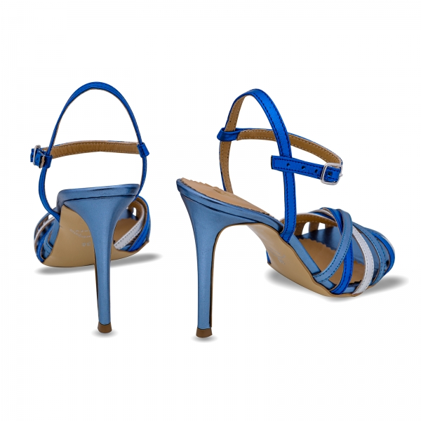 Sandale cu barete, din piele naturala metalizata argintie si albastra 2