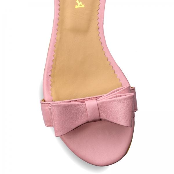 Sandale cu talpa joasa, din piele nappa roz, cu fundite 3