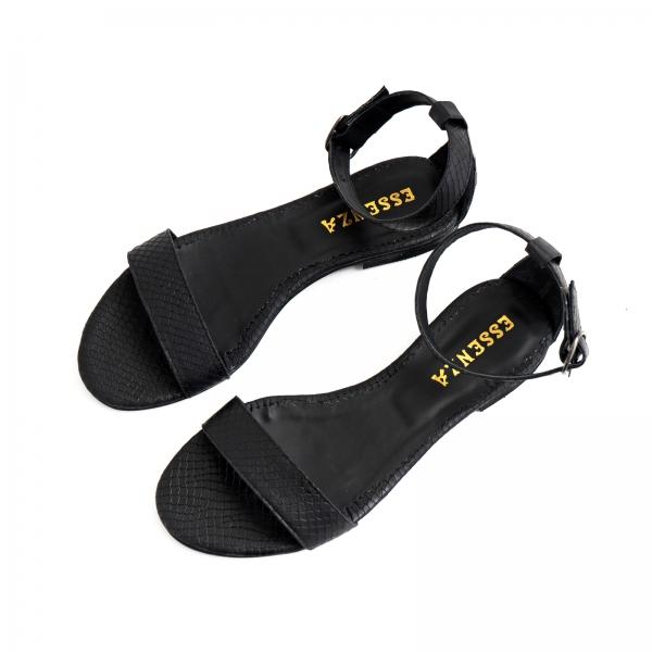 Sandale cu talpa joasa, din piele neagra cu presaj crocodil 2