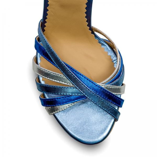 Sandale cu barete, din piele naturala metalizata argintie si albastra 3