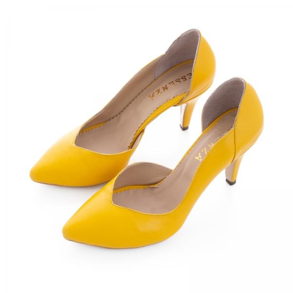 Pantofi stiletto din piele naturala galbena 1