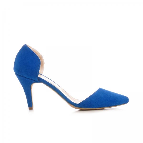 Pntofi stiletto decupati, albastru intens 0