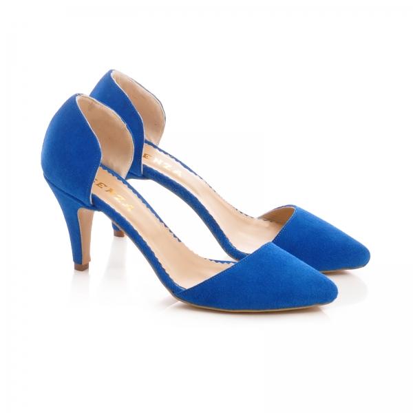 Pntofi stiletto decupati, albastru intens 1