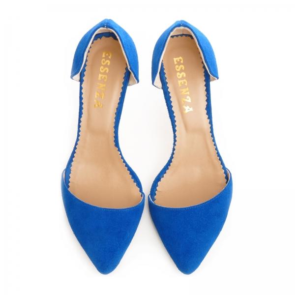 Pntofi stiletto decupati, albastru intens 3