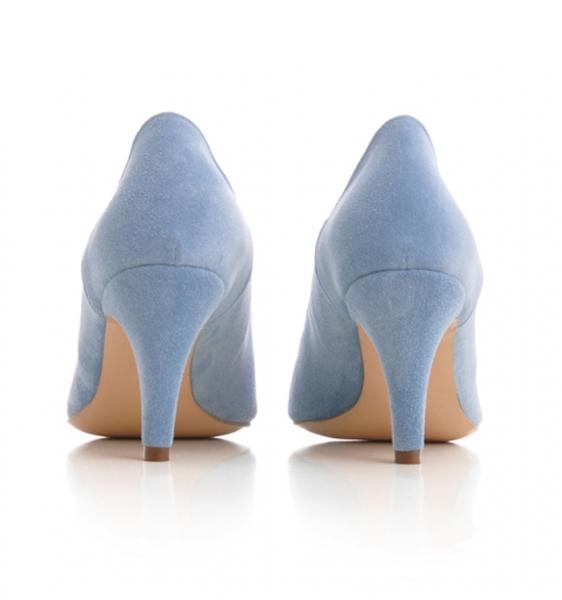 Pantofi stiletto din piele albastra intoarsa 2