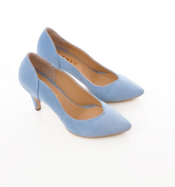 Pantofi stiletto din piele albastra intoarsa 4