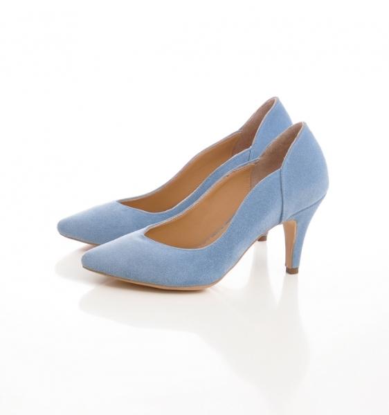Pantofi stiletto din piele albastra intoarsa 3