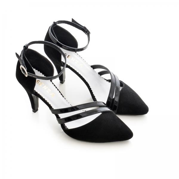 Pantofi din piele intoarsa neagra, cu decupaj si barete din piele lacuita neagra 2