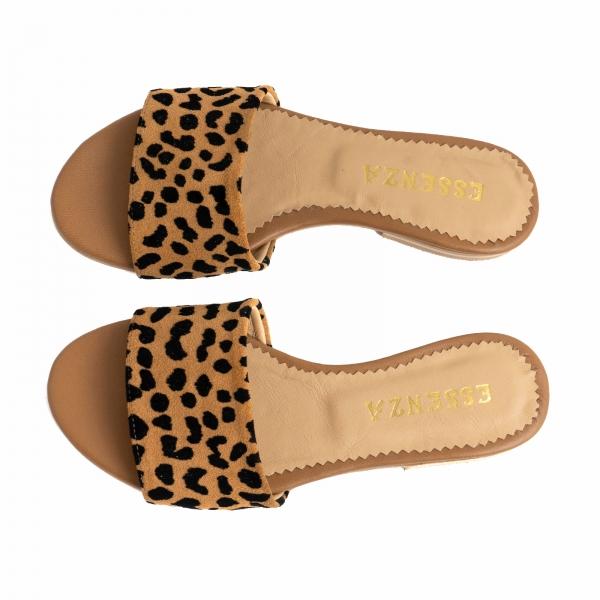 Flip flops din piele naturala cu animal print 3