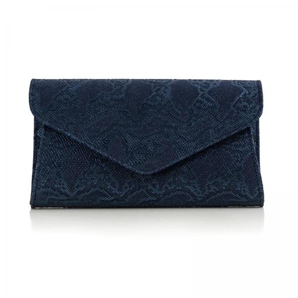 Poseta plic Emma, capac in V din piele naturala albastra texturata. 0