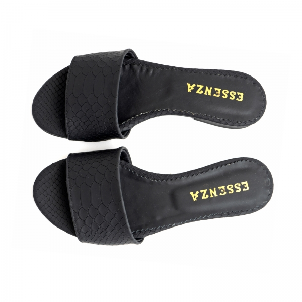 Flip flops din piele naturala neagra croco 2