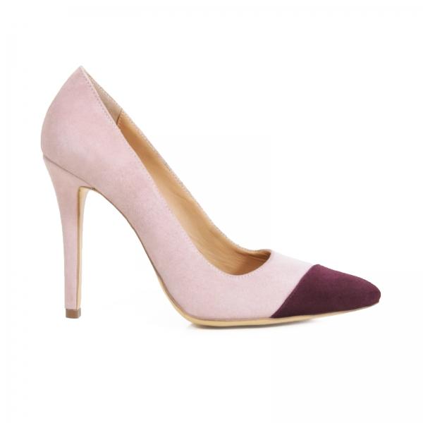Pantofi stiletto din piele intoarsa roz si visinie 0