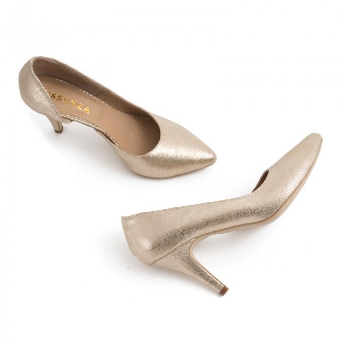 Pantofi stiletto din piele laminata, auriu texturat, cu decupaj interior 3