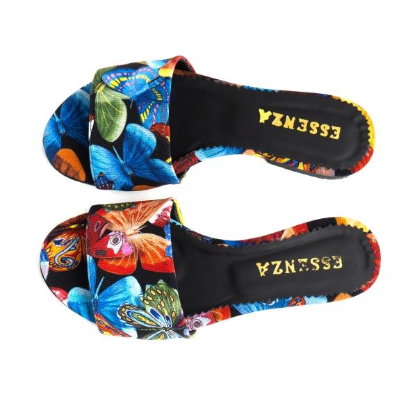 Flip flops din piele naturala cu print floral 3