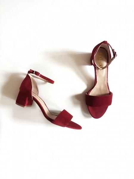 Sandale din piele intoarsa visinie, cu toc patrat 0