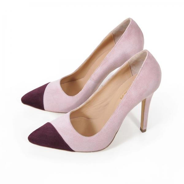 Pantofi stiletto din piele intoarsa roz si visinie 1