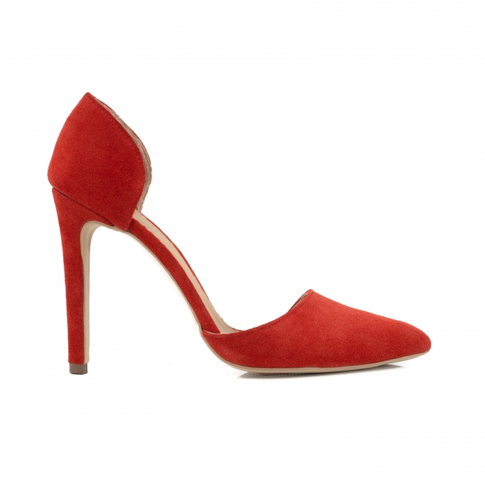 Pantofi Stileto decupati (interior/exterior ), din piele intoarsa rosie 0