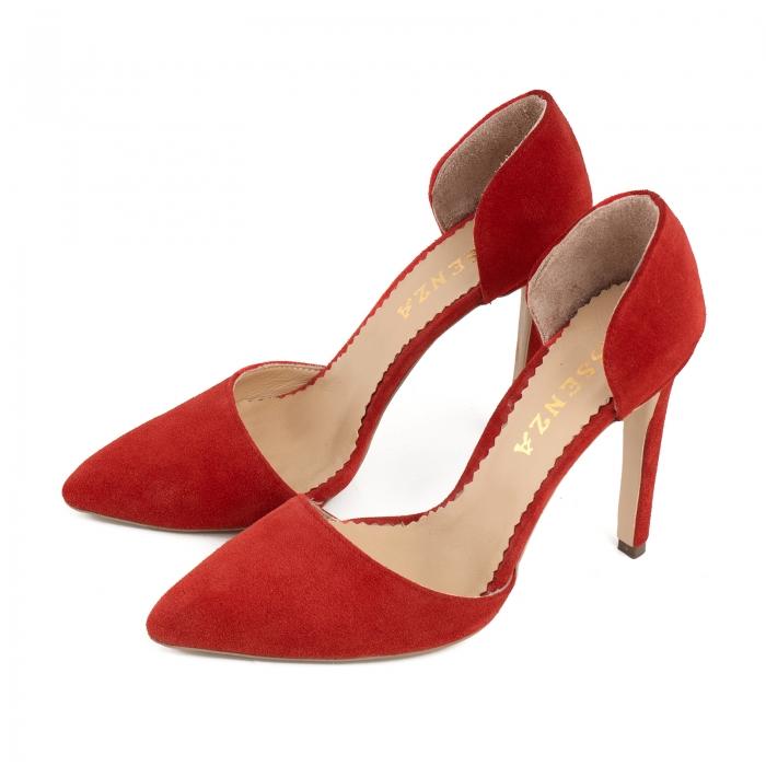 Pantofi Stileto decupati (interior/exterior ), din piele intoarsa rosie 1