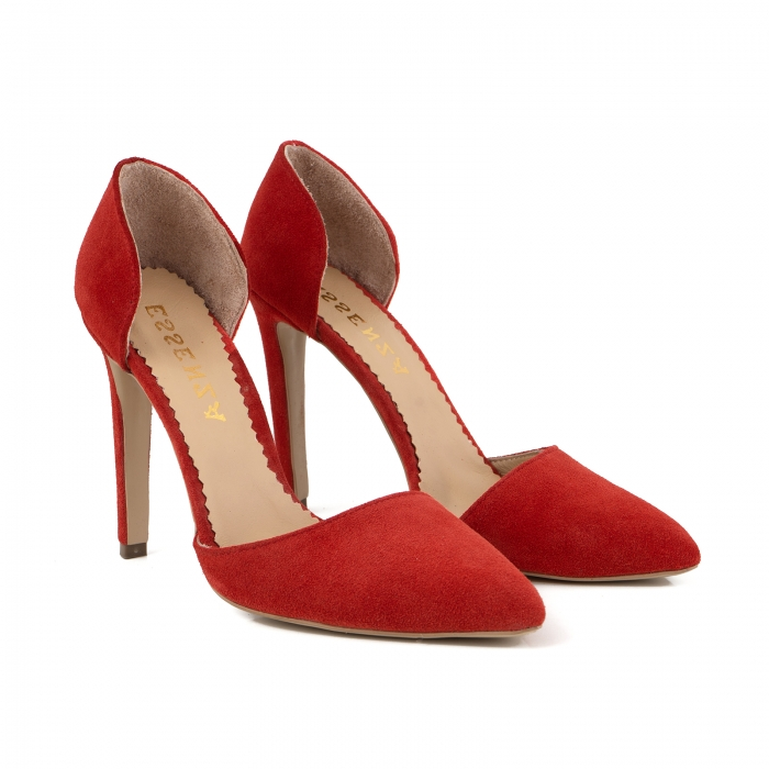 Pantofi Stileto decupati (interior/exterior ), din piele intoarsa rosie 2