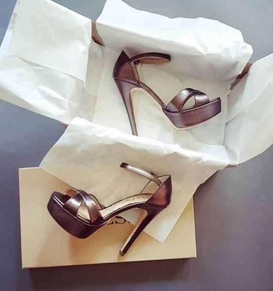 Sandale din piele metalizata maron 0