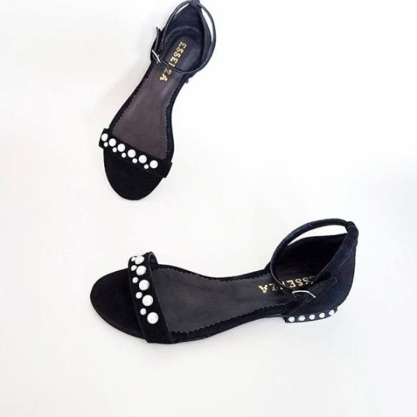 Sandale cu talpa joasa, din piele neagra si aplicatii din perle 0