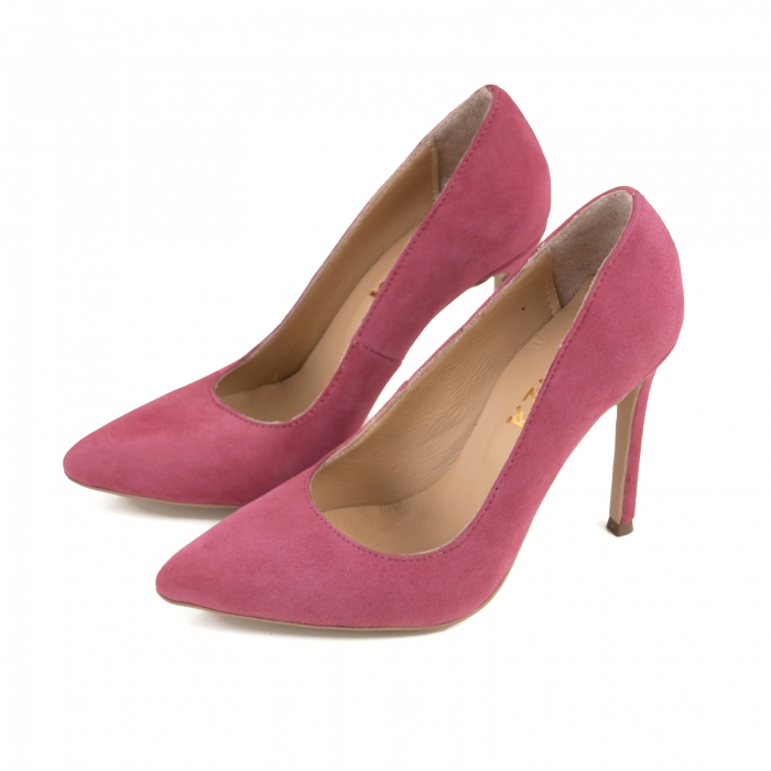 Pantofi Stiletto din piele intoarsa roz 2