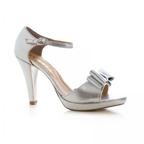 Sandale din piele laminata argintie, cu funde duble 0