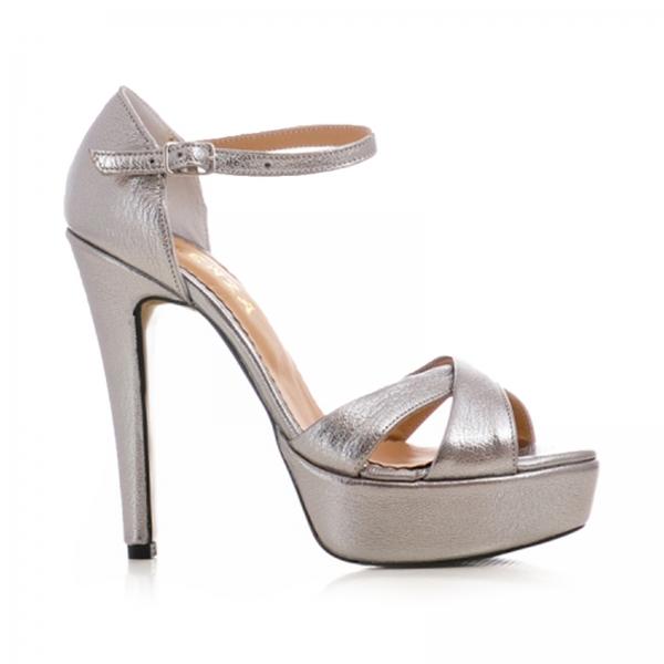 Sandale din piele argintie platina 0