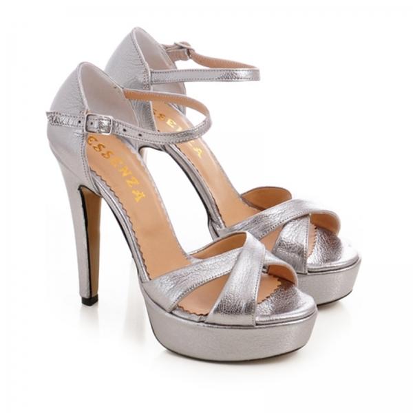 Sandale din piele argintie platina 1
